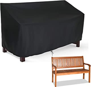 Hengme Outdoor Patio Garden Bench Cover, 3 Seat Outside Park Loveseat, Sofa, Glider, Furniture Cover - Black