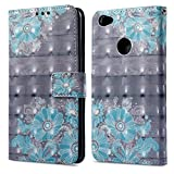 Ooboom® Xiaomi Redmi Note 5A Prime Hülle 3D Flip PU Leder Schutzhülle Stand Handy Tasche Brieftasche Wallet Hülle Cover für Xiaomi Redmi Note 5A Prime - Blume Blau