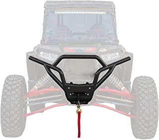 SuperATV Heavy Duty Front Bumper for Polaris RZR XP 1000 / XP 4 1000 (2019+) - 3500 lb Winch and Winch Mount Included - Wrinkle Black