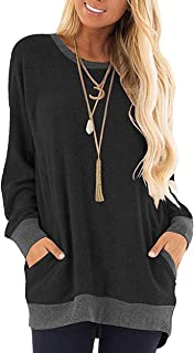 Kuzkauf Women's Long Sleeve Tops Round Neck Color Block Loose Casual Sweatshirts with Pockets