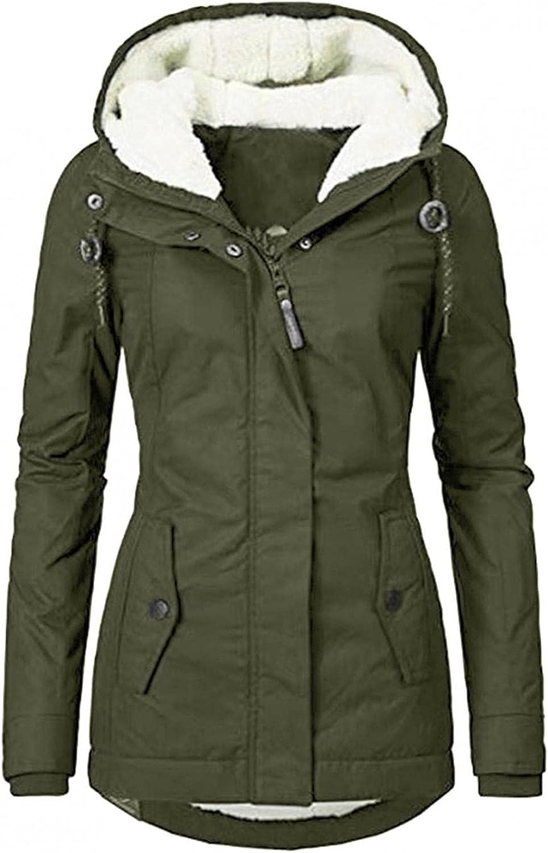 Women's Wool Jacket Coat Hood Plus Size Winter Warm Parka Coats Fuax Fur Jackets Trench Thicken Fleece Lined Overcoat