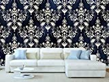 Oedim Papel Pintado para Pared Estampado Damasco Blanco Fondo Azul | 100 x 70 cm | Salones
