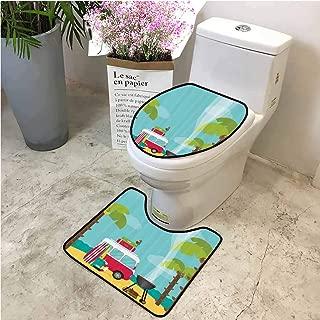 Shaggy 2 Piece Bath Rug Set Caravan Camping Beach U Shape Contour Rug Bath Mats for Bathroom Plush Absorbent Bathroom Rugs, U-Shaped Mat-15.7