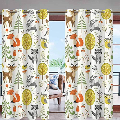 Hiiiman Outdoor Curtain Panel Thermal Insulated with Grommet Top Woodland Forest Animals Trees W108 x L96 for Canopy/Pergola/Yard Privacy
