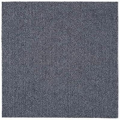 Carpet Tiles Peel and Stick - Multi-Purpose Floor Mat for Home and Pets, Non-Slip, Vacuum Safe, Self Adhesive Carpet Floor Tile, 12 Tiles/12 sq.