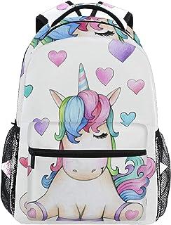 Mochila escolar para niños y adolescentes, diseño de unicornio sentado con corazones y corazones