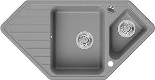 Granitspüle Grau 97 x 49 cm, Spülbecken  Siphon Automatisch, Eckspüle ab 80er Unterschrank in 5 Farben mit Siphon und Antibakterielle Varianten, Küchenspüle von Primagran