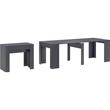 Skraut Home - Table Console Extensible avec rallonges, jusqu'à 237 cm, pour Salle à Manger, Couleur Grise. fermée 90x50x78cm, Jusqu´à 10 pers.