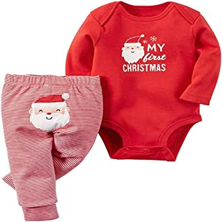 Baby My First Christmas 2 Piece Red Bodysuit & Striped Pant Set