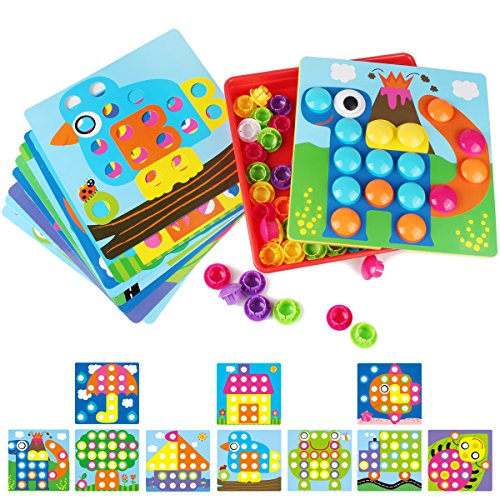 AMOSTING 3D Puzzles for Kids Creative Gifts Peg Puzzle Buttons Art Mushroom Nail Mosaic Pegboard DIY Jigsaw Plastic Building Bricks Pegging Board- Baby Early Learning Toys Toddler Educational Toys