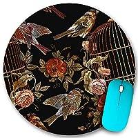 KAPANOU ラウンドマウスパッド カスタムマウスパッド、刺繡ヴィンテージ鳥と鳥のケージと花のシームレスなパターン、PC ノートパソコン オフィス用 円形 デスクマット 、ズされたゲーミングマウスパッド 滑り止め 耐久性が 200mmx200mm