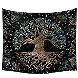 AdoDecor Tapiz de árboles de la Vida para Colgar en la Pared, Alfombra de Pared psicodélica, tapices de árbol de los Deseos Bohemios, sofá de decoración del hogar, 40x60 Pulgadas