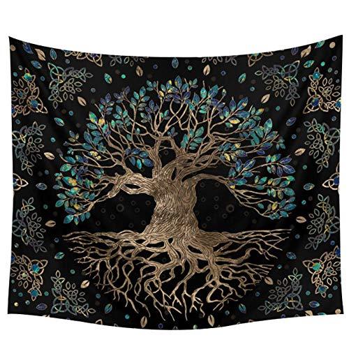 AdoDecor Tapiz de árboles de la Vida, Alfombra para Colgar en la Pared, tapices de árbol Bohemio, decoración del hogar, sofá, Tiro 150x100CM