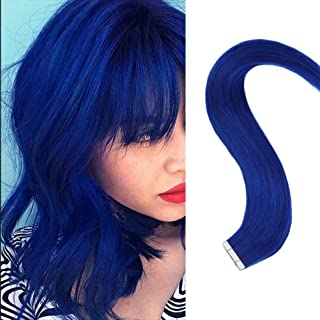 RUNATURE Blue Tape in Hair Extensions Long Straight 18inch 10pcs 25g Blue Remy Hair Extensions Hairpieces for Party Gift Activities