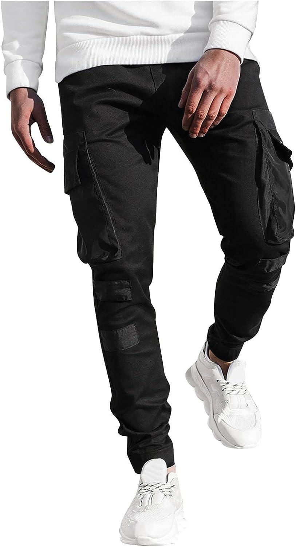 Cargo Pants for Men Fashionable Design Casual Stitching Leg Multi-Pocket Pants Capri Pants Sweatpants for Men