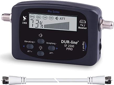 NEU - DUR-line® SF 2500 Pro - Satfinder - Besseres Display, Neue Elektronik - digitales Satelliten-Messgerät zur exakten Justierung Ihrer Sat-Antenne - inkl. F-Kabel und durchdachter dt. Anleitung