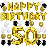 KUNGYO Letras Tipo Balón Doradas Happy Birthday+Número 50 Mylar Foil Globo+24 Piezas Negro Oro Blanco Globo de Látex 50 Años de Antigüedad Fiesta de Cumpleaños Decoraciones