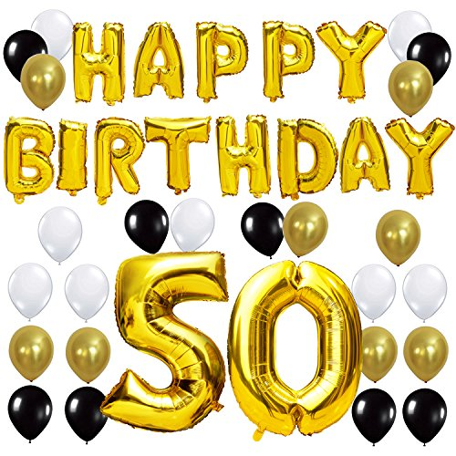 KUNGYO Happy Birthday Lettere Alfabeto Balloon+Numero 50 Mylar Foil Palloncini+24 Pezzi Oro Bianco Nero Lattice Balloons- Perfetto per Decorazioni di Festa di Compleanno di 50 Anni