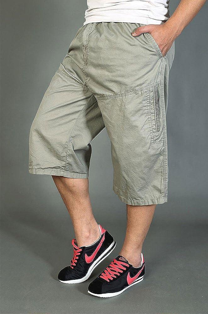 Chickle Men's Elastic Waist Loose Fit 3/4 Cargo Shorts L Sand