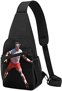 Hdadwy Novak Djokovic Hombres Mujeres Crossbody Sling Mochila Sling Bag Viaje Senderismo Pecho Bolsa Mochila Negro