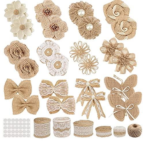 GUIFIER 30 PCS Burlap Flower Set,with 24 Handmade Burlap Flowers and Burlap Bow, 5 Burlap Lace Ribbon Rolls,1 Twine Glue Point Burlap Jute Ribbon for Wedding Party Decor Home Embellishment DIY Crafts