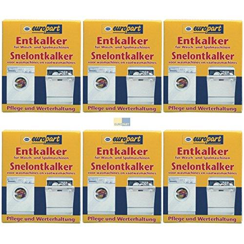 SET 6x ORIGINAL Europart 811714 10007690 Pflege Entkalker Schnellentkalker Zitronensäure Reiniger Kalk Kalkablagerung Waschmaschine Spülmaschine Geschirrspüler zur Pflege und Werterhaltung
