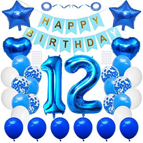 Huture 12 suministros fiesta cumpleaños azul número 12 papel aluminio globo feliz cumpleaños de decoración 12 blanco azul látex confeti globo estrella globo gran regalo para niñas niños cumpleaños