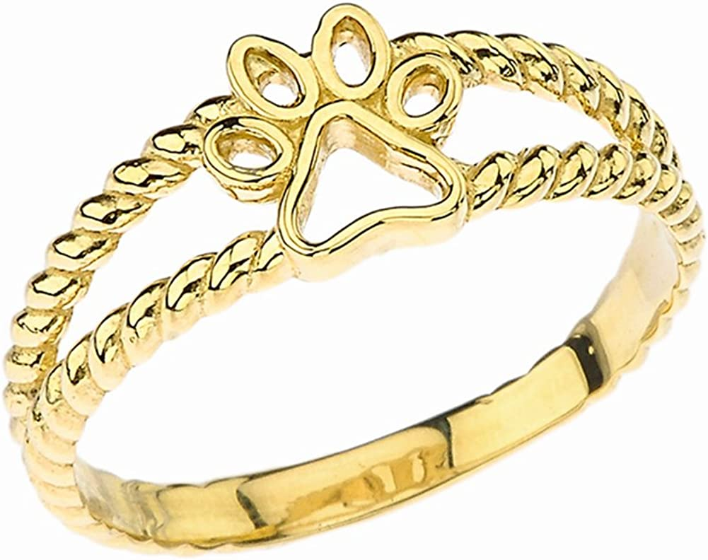shopping Elegant 14k Yellow Gold Openwork Dog Paw Print Max 49% OFF Ring Double Rope