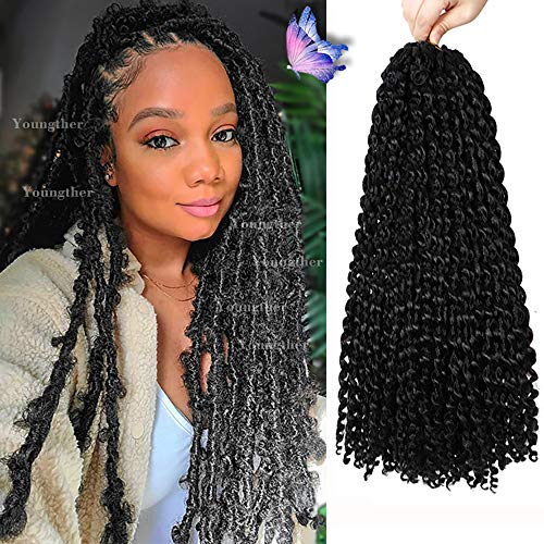 7 Packs Passion Twist Hair for Butterfly Locs Crochet Hair 18 inch Water Wave Passion Twist Crochet Hair Long Bohemian Ombre Synthetic Hair Hair Extensions (18'7Pcs-1B)