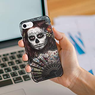 Compatible with iPhone 6 Case and iPhone 6s Case, Hard PC Back Phone Case with Tempered Glass Screen Protector Silence Gloomy Mysterious Girl Shockproof Protective Cover