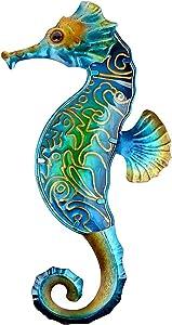 YardsBee Metal Seahorse Wall Decor Outdoor Ocean Glass Art Sculpture Hanging Decorations Sealife Beach Theme decor for Home Garden bedroom