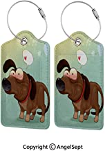 Colorful Unique DIY Printed Luggage Tags,Puppy in Love Werner Dog Romance Confusion Humor Caricature Style Pet Graphic 4 PCS Brown Almond Green,for Bags Backpacks, Suitcases, and Golf Bags