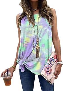 SportsX Womens Tie Dye Summer Lounge Oversized Knot Crewneck Cami Vest