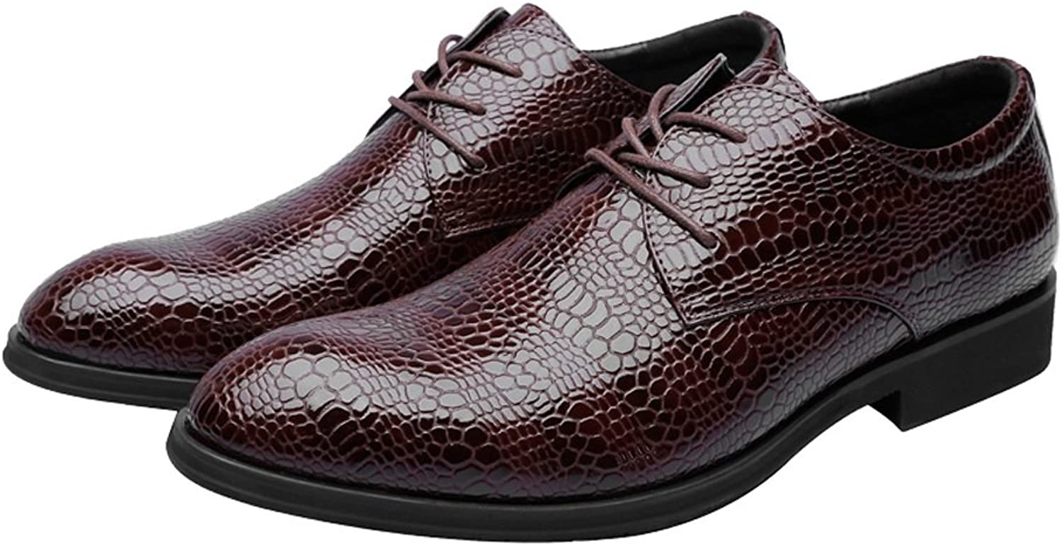 shoes Men's Business PU Leather shoes Crocodile Skin Texture Upper Lace Up Breathable Low Top Lined Oxfords Leather shoes