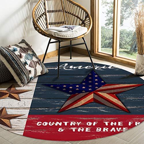 Hommou, tappeto moderno rotondo con bandiera americana, antiscivolo, morbido, per interni, soggiorno, camera da letto, sala da pranzo, diametro 9,3 cm