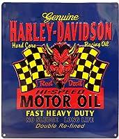 ハーレーダビッドソン ブリキ看板 メタル プレート Harley Davidson -Red Hot- バイク アメリカン雑貨 アメリカ 雑貨 ハーレー グッズ
