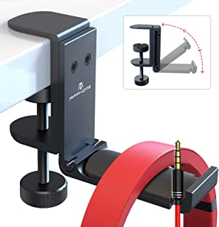 [Newest Upgrade] Foldable Headphone Stand Hanger with Cable Clip Organizer, Aluminum Headset Stand Holder Under Desk, Head...