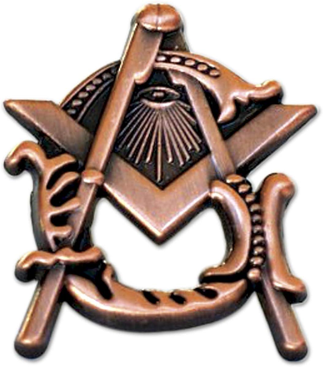 Square Compass Ultra-Cheap Deals Masonic Lapel Pin Antique Tall 1'' - Copper 5 ☆ very popular