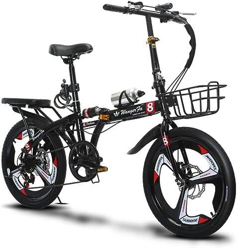 artículos de promoción DT Bicicleta Bicicleta Bicicleta Adulto Plegado Masculino y Femenino 16 Pulgadas Variable Velocidad Disco de Frenado Frenado Estudiante Ultraligero Portátil Pequeña Bicicleta (Color   negro)  salida de fábrica