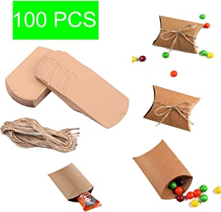 100 PCS Kraft Paper Pillow Box,3.5x2.8x1 Inch Pillow Wedding Candy Boxes with Jute Twine,Wedding Favor Boxes