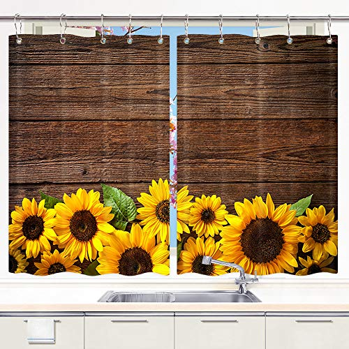 Sunflower on Rustic Wooden Kitchen Window Curtains, Spring Flower on Vinatge Country Wood Wood Curtains Panels, Yellow Sunflower Kitchen Window Drapes, Window Treatment Sets with Hooks, 55X39Inches