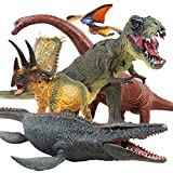 Jaysompro 5 PCS Jumbo Dinosaur Set -Realistic Looking Dinosaur Figures with Play Mat for Dinosaur Lovers-Kids Perfect...