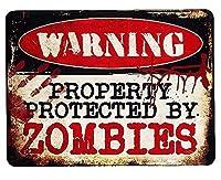 ゾンビに注意 PROTECTED BY ZOMBIES アメリカンブリキ看板 アメリカン雑貨 アメリカ 雑貨 サインプレート サインボード ティンサイン メタルプレート インテリア 警告系 ポスター ガレージ おしゃれ カフェ バー 店舗 ブリキ 看板