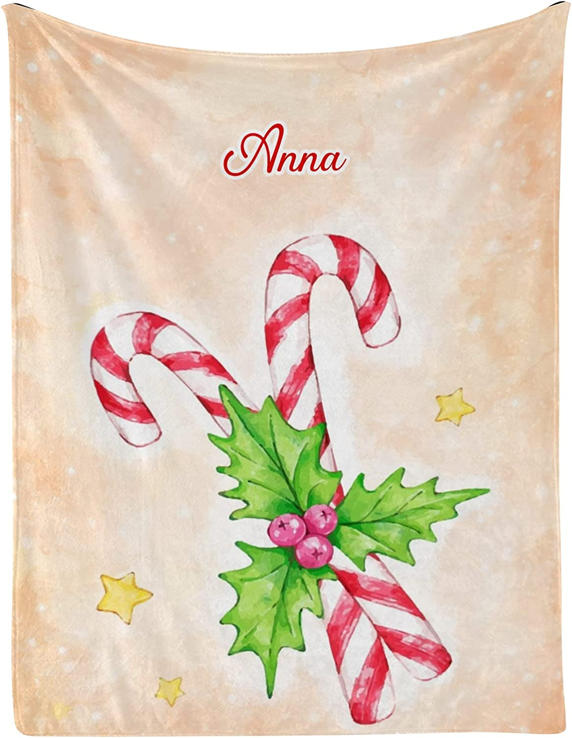 Christmas Candy Berry Star Personalized Baby with Blankets Name 2021 spring and summer new Albuquerque Mall