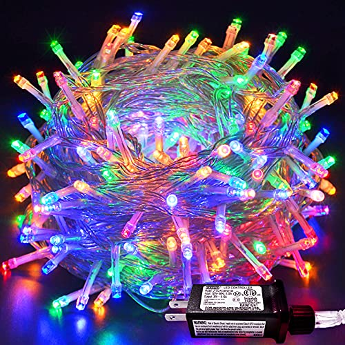 JMEXSUSS 33ft 100 LED Indoor String Lights Multicolor, Clear Wire Christmas Lights Outdoor Waterproof, 8 Modes Twinkle Fairy String Lights Plug in for Bedroom Wedding Party Tree Decoration