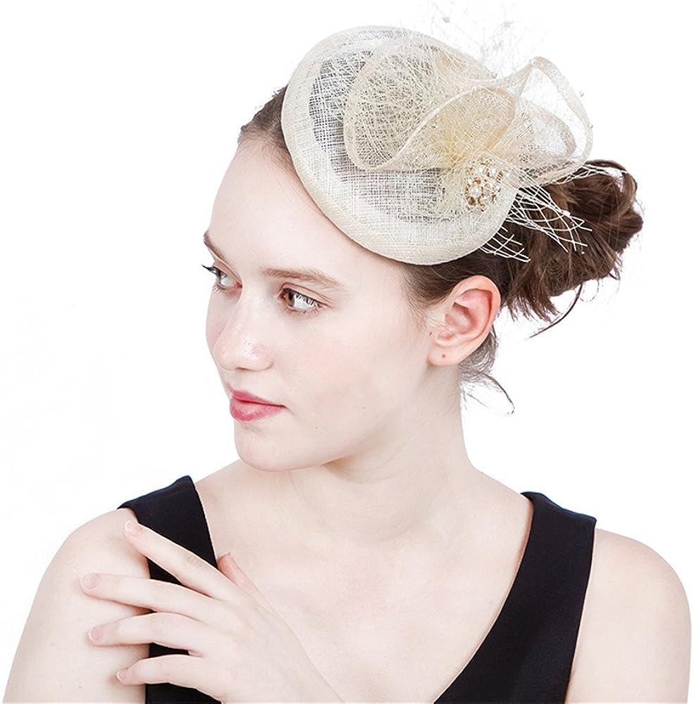 YONQUIL Ladies Fascinators With Pearl&Veils Racing Season Sinamay Wedding Hat SYF200