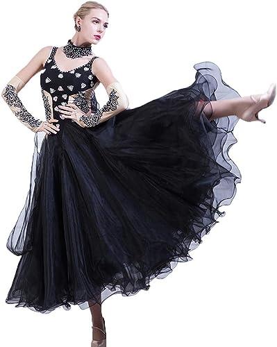 Tenue de Danse de Compétition Robe de Danse de Salon pour Femme avec Strass Valse Moderne Costume de Danse