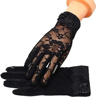 MoonEver Women's Short Elegant Lace Gloves Touch Screen No-Slip Summer Gloves