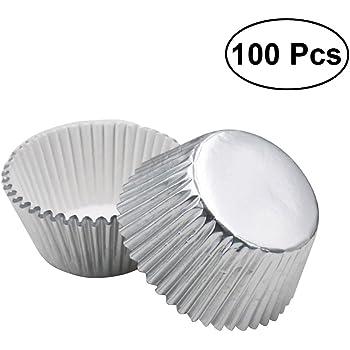 Bluesees torte Stampo per tortine di uovo 50 pezzi per cupcake pane antiaderenti e resistenti al calore in latta muffin stampi riutilizzabili