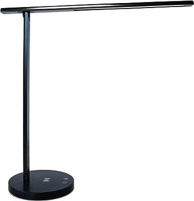 Unilux 400124560 Diva Lampe de bureau LED avec fonction de charge Qi Protection des yeux Sans fil Sans fil Chargement via USB 7 W Intensité variable Noir